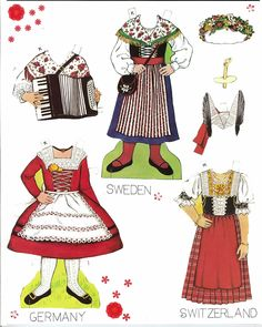 Traditional Folk Costumes of Europe 10 of 10 SWEDEN and GERMANY and  SWITZERLAND