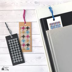 Check and Plaid Bookmarks - Free Cross Stitch Patterns - BugabooCity