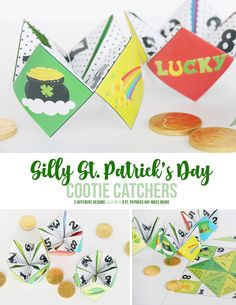 Silly St. Patrick's Day Cootie Catchers are loaded with funny jokes for kids. These printable joke tellers are fun for kids big and small. #stpatricksday #stpatricksdaycootiecatchers #stpatricksdayjoketellers