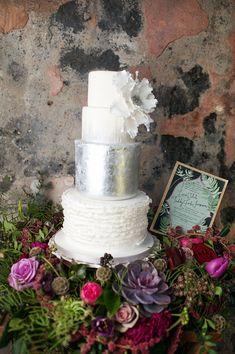 textured wedding cake with silver metallic, photo by Ryan Welch Photography http://ruffledblog.com/welsh-floral-wedding-inspiration #weddingcake #cakes