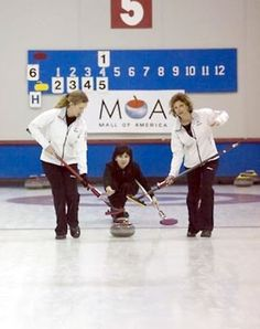 Bev delivering stone again Illinois-Jodee and Karen sweeping at the USCA Club Nationals, California Women's Club Nationals Curling Team, 2007