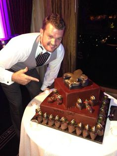 Thomas Morstead and his groom's cake at his wedding last Saturday! #Saints #Cake #GroomsCake #Wedding