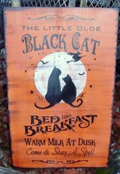 Primitives CATS Halloween Decorations Primitive Black Cats Bed And Breakfast Witches Sign Props Samhain witches wiccan welcome by SleepyHollowPrims $31.50