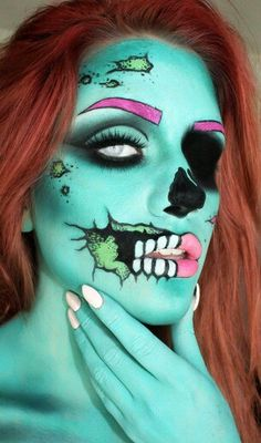 Halloween party costume: cartoon zombie (makeup by artist, Samantha Ravndahl)