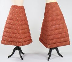 Two 'Arctic Down' quilted petticoats, English, circa 1865-70. both with printed trade labels, in colourful floral and paisley printed cottons; together with a pair of chamois inner breeches bearing the name 'Peachey' to the waist c.1860-80; and a red and white striped crochet wool petticoat (4). - See more at: http://kerrytaylorauctions.com/one-item/?id=173&sub=&auctionid=402#sthash.DuDvUmC2.dpuf