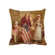 $59.95 Betsy Ross sewing the American flag pillow