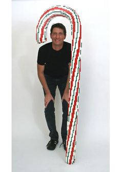 lego candy cane - could make giant ones from carpet/fabric tubes, chicken wire and modroc for displays.