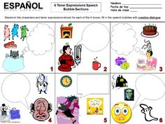 Tener Expressions Worksheet Speech Bubble Creative Writing Assignment by Sue Summers