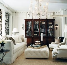 "Ralph Lauren Home Archives, ""Mayfair"", Living Room, 2008; ""Fashioned with modern elegance and undertones of 1940s glamour, this sophisticated décor features well-tailored furniture deftly layered with silver and pewter metallics, natural woven materials and black, white and cream fabrics."""