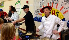 Students and staff enjoy a Celebrity Chef Display Cooking event at Wells Ogunquit Community School District in Maine.