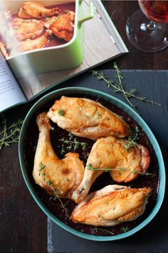 Pan-Roasted Chicken with Blueberry Reduction.