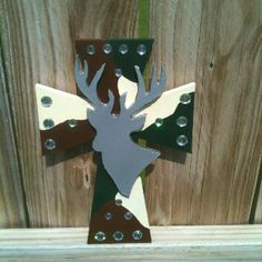 Wooden camo deer cross