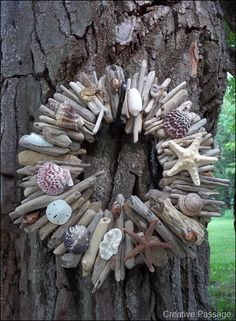 Make a gorgeous driftwood and seashell wreath, by Creative Passage, featured on I Love That Junk