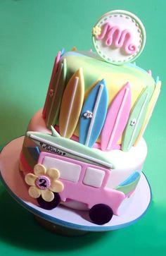 Surfer girl birthday cake