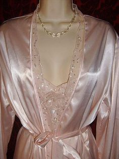 100% Satin shiny peignoir...