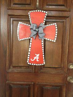 Collegiate University of Alabama Roll Tide Cross Hand painted Wooden Door Hanger Sign or Wall Art Personalized Monogrammed Gift