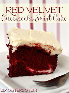 Red Velvet Cheesecake Swirl Cake- cheesecake, red velvet, and cream cheese frosting . . . AMAZING. SixSistersStuff.com #cake #dessert