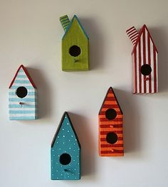 Five Paper Mache Little Bird Houses