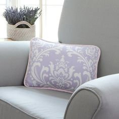 Lilac and Silver Gray Damask Decorative Pillow | Carousel Designs