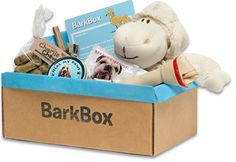 A pretty awesome idea from a company called BarkBox. Subscribe for their monthly service and your pup gets a box of fun every month! A portion of the proceeds go to helping dogs in need. Love it!