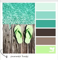 """""""Summer Hues"""" - coastal colours, - blue, limey green, beige, grey/gray, turquoise - great beachy colours"""