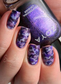 Purple Up! For Military Kids ~ Purple Camouflage Nail Art   Sassy Shelly - we love these gorgeous nails which combine 2 trends into one great design...x Makeup Nails, Purple Camouflage, Nails Art, Camouflage Nails, Nails Design, Hair Nails Make Up, Camo Nail Art, Military Nails, Nail Art Camo