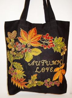 Unique Gifts Canvas Black Tote Bag Custom Hand Painted #Fabric #Applique Design by paulagsell, $52.00