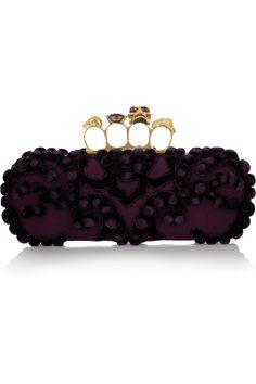 Alexander McQueen|Knuckle embellished brocade box clutch