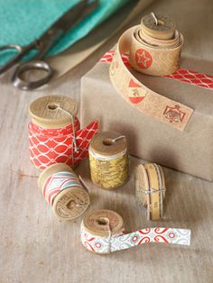 How to Make Tape From Wrapping Paper by countryliving: Such an easy way to make pretty tape! - Clever.