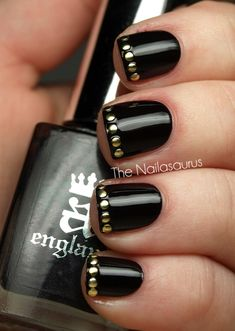 black with silver studs french manicure