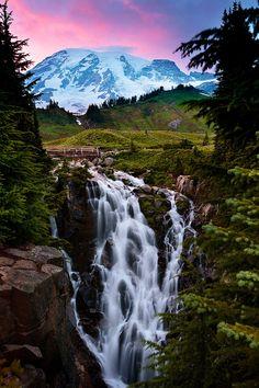 Myrtle Falls, Washington State. Gorgeous! #nature #waterfall #mountains #purple #sky