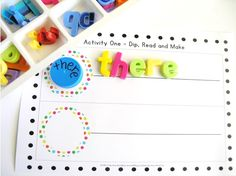 Dip, read and make.$ http://www.teacherspayteachers.com/Product/Bottle-Cap-Reading-and-Writing-Centers-x-5-for-any-word-list-836700