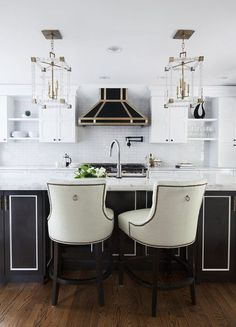 Home We Love: Cooking with Glamour in a Gold, Black and White Kitchen