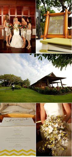 hawaiian wedding with beautiful bouquet