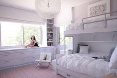 Beautiful bunk beds for girls.  I love how light and airy this room feels.
