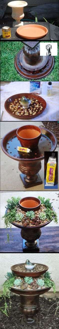 DIY Bird Bath Planter  I used terracotta pots, painted them w/ wood stain & baked them in the sun. Drilled holes w/ masonry bit. Sealed water dish & stuck bird (99Store) & rocks on w/ epoxy resin. glued pots together w/ contact cement (99¢Store), planted succulents, & sprinkled soil w/ chicken grit(cause I had it on hand) & river rocks. I kept the top dish free so I can remove it for cleaning. I'm taking a stab, too, at propagating clippings from the succulents 4 future projects. BIRDBATH