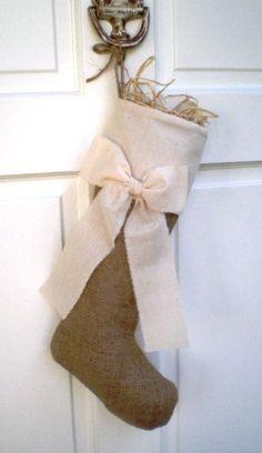 Burlap and bow stocking