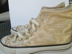 Vintage Gold Converse Hightop Size 7 Sneaker Hip Hop