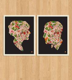 Floral Couple Silhouette Prints.
