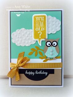 White House Stamping: Owl's Birthday Greetings