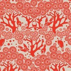 Mikko Fabric- Birds and Trees screen printed Australian Fabric Lipstick/chino- 1/4 metre