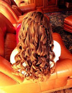 waterfall braid & curls