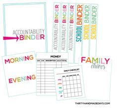 kid printables, famili, teaching kids, free printabl, printabl organ, kids accountability binder