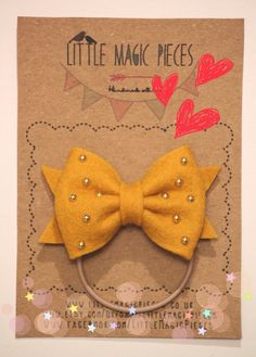 Mustard Studded Bow Hair Bobble Tie Ponytail Holder/ Hair Clip Valentine by Little Magic Pieces