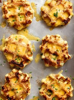 Mashed Potato, Cheddar and Chive Waffles from @joythebaker #recipe #thanksgiving