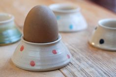 hand-thrown ceramic egg cup (home decor, easter, egg holder, brown, beige, polka dots)