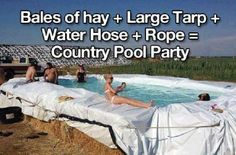 Homemade swimming pool...pretty cool and re-usable materials for a cob home yard.