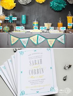 Custom Paper Goods by Megan Wright Design Co. #teal #yellow #wedding #programs #candy #buffet