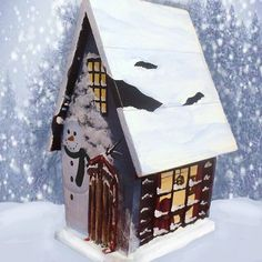 Winter Hand Painted Birdhouse by PaintBrushedBoutique on Etsy, $39.00