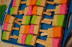 Neon Rice Krispie treat paint brushes